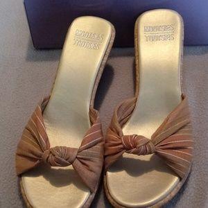 Earth tone wedge sandals